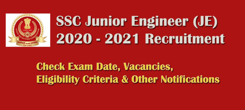 SSC Junior Engineer JE Recruitment 2020 Online Form